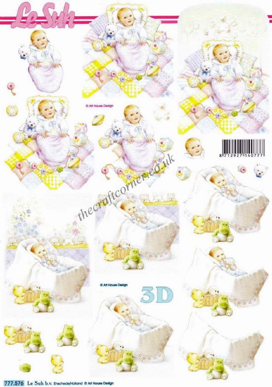 Baby Boy & Girl With Toys 3d Decoupage Sheet